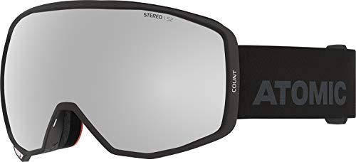 Atomic, All Mountain-Skibrille, Unisex, Für wolkiges bis sonniges Wetter, Medium Fit, Kompatibel mit Sehbrille, Count Stereo, Schwarz/Silber Stereo, AN5106042