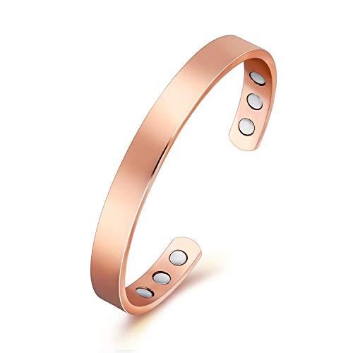 Pulsera magnética para artritis con 6 imanes incrustados, 99,9 % cobre puro, diseño elegante y sencillo, accesorio comúnmente utilizado para el alivio del dolor y la curación magnética, talla