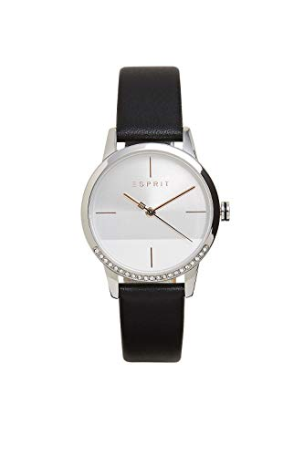 Esprit ES1L106L0025 Yen Uhr Damenuhr Lederarmband Edelstahl 3 bar Analog Schwarz