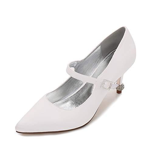 AQTEC Scarpe da Sposa da Donna Punta Chiusa Satinato Tacco a Spillo con Cinturino alla Caviglia Tacchi Alti,Avorio,42 EU