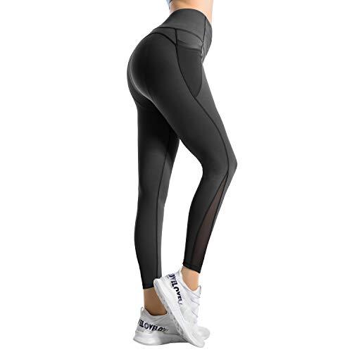 RaMokey Damen Leggings Sport Leggins Yoga Pants Blickdicht Sporthose Fitness Yogahose Fitnesshose mit Taschen,Schwarz,36 (Tag M)