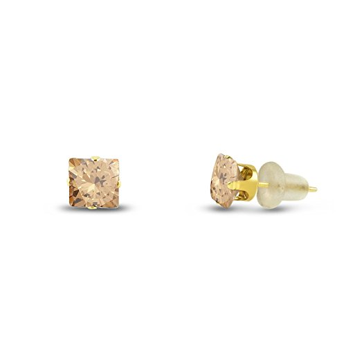 Kezef Square 3x3mm Champagne CZ 10k geel gouden oorstekers