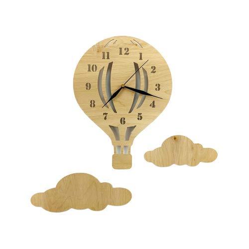 BABEES Kinder Wanduhr Ballon mit Wolken, Uhr ohne Tickgeräusche, Kinderuhr Heißluftballon für Kinderzimmer, Lautlos Uhrwerk, Wanddeko Scandi Deko Junge Mädchen Holz