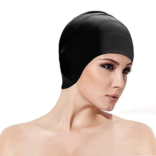 AIBAOBAO Cuffia da nuoto, nuoto cappello protezione auricolare 3D per le donne, uomini, adulti Unisex, bambini, adolescenti, silicone impermeabile Swim Cap adatta lungo / corto capelli, Dreadlocks
