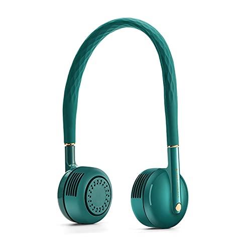 LDH Mini Ventilador De Cuello Colgante, Ventilador De Cuello Colgante Sin Hojas USB Conveniente y Deportivo Portátil Fan de Cuello Colgante Perezoso (Color : Verde)