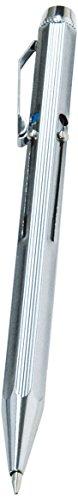 Wedo 256226 Vierfarb-Kugelschreiber (mit Schiebemechanik und vier auswechselbaren DIN Kurz-Minen im Etui) chrom/schwarz/rot/blau/grün