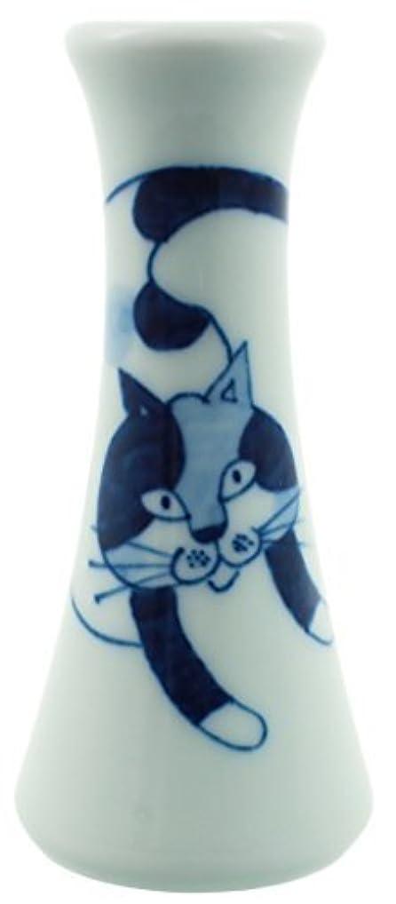ぼんやりしたれんがイサカ彩生陶器 花立?華瓶 白 5.5cm 有田焼 ペット仏具 花瓶 猫のナナ 74085