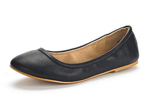 DREAM PAIRS Women's Sole-Fina Black Solid Plain Ballet Flats Shoes - 8.5 M US