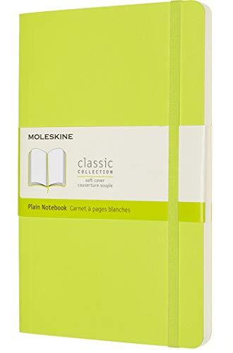 Moleskine - Klassisches Notizbuch, Blanko Seiten, Softcover und elastischer Verschluss, Größe 13 x 21 cm, Farbe zitronengrün, 240 Seiten