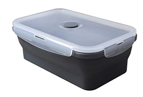 Fackelmann Fiambrera Plegable Térmica para Comida Caliente y Fría, Silicona con Cierres herméticos, Resistente a 230ºC, Apto para microondas, frigorífico y congelador, Gris y Transparente,1200ml, 1ud