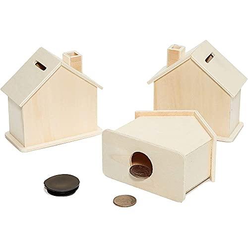 Genie Crafts Holz-Spardose Kleines Haus (Set, 3 Stück) - Sperrholz, Unlackiert - Münzschlitz auf der Oberseite - Sparbüchse - Zum Bemalen und Dekorieren - 10 x 5 cm