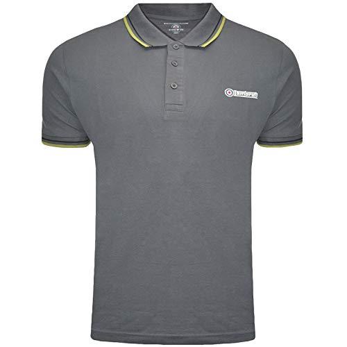 Lambretta Herren Poloshirt mit Dreifachspitzen Gr. L, Ebenholz, Moos, Schwarz