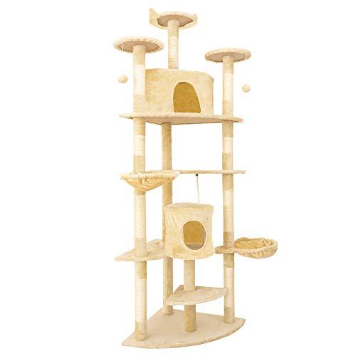 IPOTOOLS Katzenbaum für Grosse Katzen Stabil - Kratzbaum Deckenhoch Katzenkratzbaum Groß Stabil mit Plüsch Höhlen, Sisal Säulen, Liegemulden und Spielkordeln 204 cm (Beige)