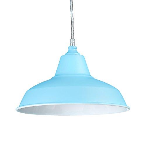 Relaxdays Pendelleuchte Industrie in trendigen Farben HBT: 112 x 28 x 28 cm Moderne Pendellampe Metall im farbigen Design als kreative Hängelampe Deckenleuchte höhenverstellbar Hängeleuchte, hell-blau