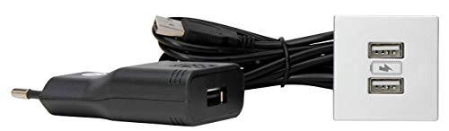 Kopp 939726015 ASA USB-Einbau-Ladestation, aluminium, Quadratisch