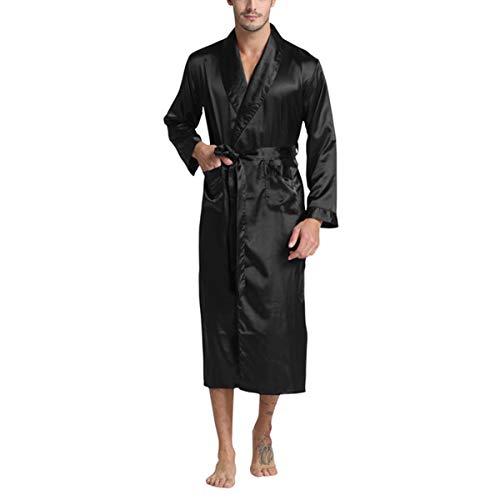 del Hombres de Seda de Raso Albornoz Bata Color sólido Pijamas de Seda de los Hombres está en casa Casual Pijamas, Negro, XL