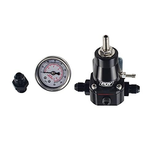 WFAANW Envío gratis Regulador de presión de combustible universal + GAUGE + AN6 AJUSTE 30-70 PSI WLR7845 (Color : Black)