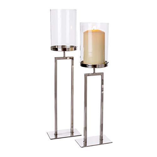 Pureday Windlicht New York - Kerzenhalter - Metall Glas - Silber - groß