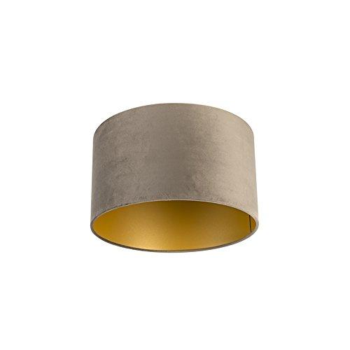 QAZQA Algodón Pantalla terciopelo visón/oro 35/35/20, Redonda/Cilíndrica Pantalla lámpara colgante,Pantalla lámpara de pie