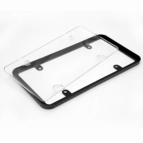 LT Sport USA Size Slim Carbon Fiber Style License Plate Frame Clear Tag Cover Protected
