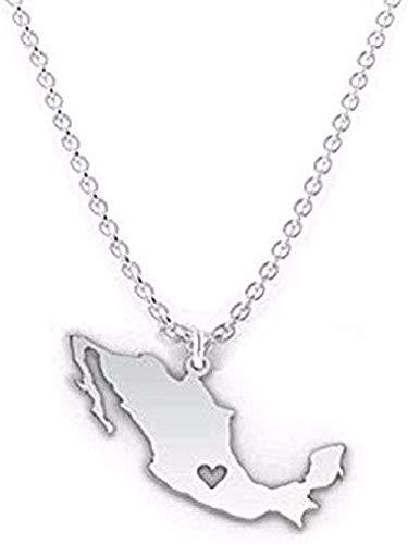 Collar de regalos Collar de mapa de contorno de moda I Heart Collar de mapa de México Joyería de silueta de México Collar de aleación personalizado Collar de mapa de encanto estatal