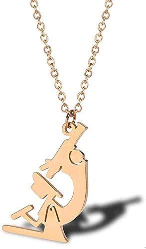 Halskette Frau Halskette Kreative Halskette Medizinisches Mikroskop Einfache Halskette Titan Stahl Modeanhänger Biologisches Instrument Damen Schlüsselbein Kette-Rose_Gold für Frauen Männer Jungen Mäd