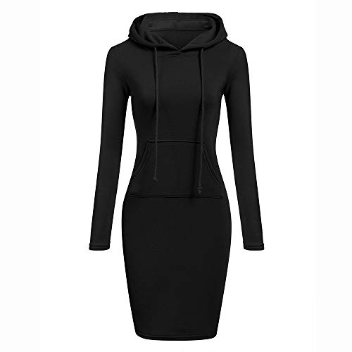 Deloito Damen Mode Langarm Solides Patchwork O Hals Lässige Lange Kapuze Herbst Winter Sweatshirt Kleid (Schwarz,L)