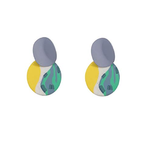 Unique Multicolor Round Pendant Clay Earrings For Women Polymer Clay Geometric Drop Earrings Costume Jewelry