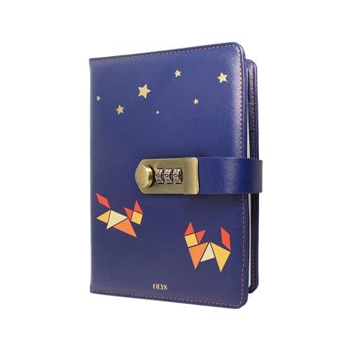 OLYS - Diario íntimo con candado - Cuaderno de notas secreto con código - 208 páginas
