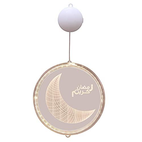 Eid Crafts Luz de Noche,Eid Led Luz Colgante,Eid Ramadan Luz Decorativa de Hadas,Diy Ramadan Pal-ace con luz nocturna LED, Islam Eid Mubarak Luz Redonda Para Hogar, Oficina, Pub, Tienda