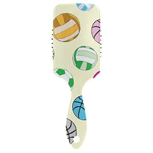 JinDoDo - Cepillo para el pelo de fútbol, voleibol, baloncesto, cojín de aire, peine para masaje largo y grueso, fino y rizado