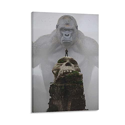 Skull Island King Kong Art - Lienzo de estilo nórdico abstracto, sin marco, gran regalo para decoración de baño, 50 x 75 cm