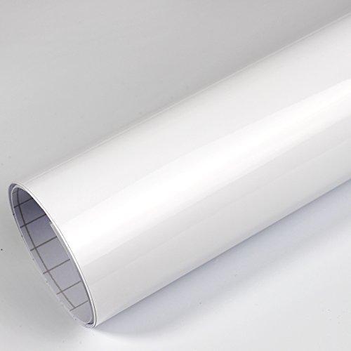 Rapid Teck® 5,26€/m² Premium – Glanz Weiß 1m x 1,52m Auto Folie Blasenfrei mit Luftkanälen für Auto Folierung und 3D bekleben in Matt Glanz und Carbon Autofolie