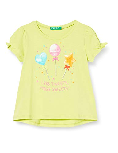 UNITED COLORS OF BENETTON T- Shirt Pull sans Manche, Jaune (Limeade 28m), 86/92 (Taille Fabricant: 2Y) Bébé Fille