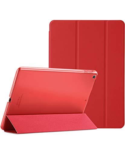 ProHülle Hülle für iPad 9.7 2018 iPad 6 Gen /2017 iPad 5 Gen Schutzhülle Hülle Cover,Dreifach Ultra Dünn Leicht Klapphülle mit Transluzent Rückseite Smart Cover für ipad 9.7 Zoll -Rot