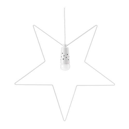 IKEA STRALA Hängeleuchte in weiß; aus Metall; sternförmig; (55cm)