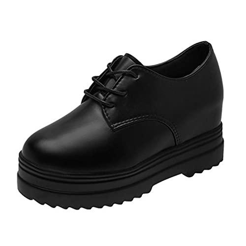 Zapatos de Plataforma Gruesos con Cordones para Mujer, Resistentes al Desgaste, Casuales, al Aire Libre, Primavera, otoño, Zapatos Gruesos Vintage, Creepers de Cuero para Oficina