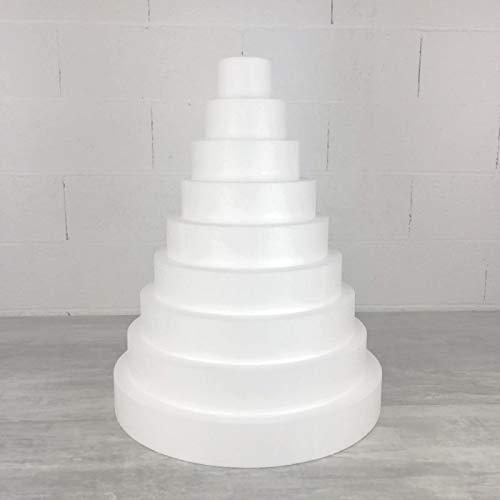 Lealoo Pièce montée XL en polystyrène Haute densité, Hauteur 63 cm, Base 50 cm, 9 étages