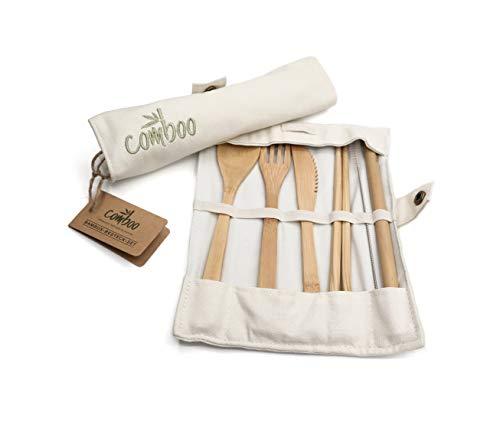 comboo® - Bambus Besteck Set| Reisebesteck | umweltfreundliches Besteckset | Messer, Gabel, Löffel, Stäbchen und Strohhalm| Besteck Holz | Besteck für unterwegs inkl. Tasche | (creme, 20)