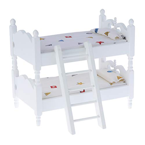 Haomian Dollhouse Furniture 1:12 Dollhouse Kids Mini Bunk Bed with Ladder Toy Bedroom Model Kids Children's Bedroom Set Doll House Decoration Accessories