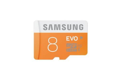 Samsung MB-MP08D/EU Scheda MicroSDHC EVO, 8 GB, UHS-1, Classe 10, Bianco/Arancio