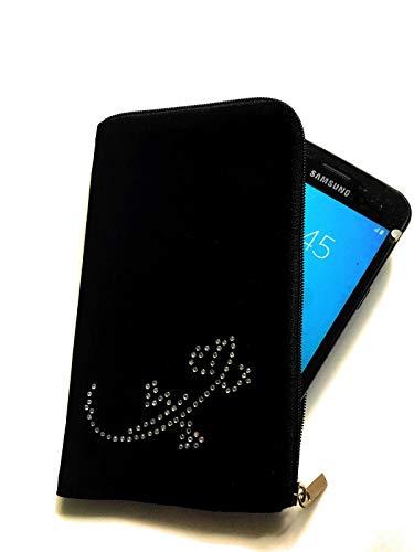 gtsk Reissverschluss Handy Tasche schwarz mit Strass Motiv Echse geeignet für Realme X2 pro - Soft Hülle Etui Schutz Hülle