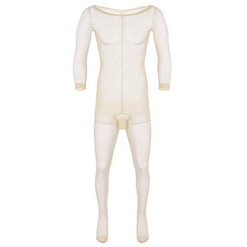 iiniim Herren Body Overall Transparent Einteiler Ganzkörperanzug Strumpfhosen mit Penishülle Männer Unterhemd Unterwäsche Nackt Einheitsgröße