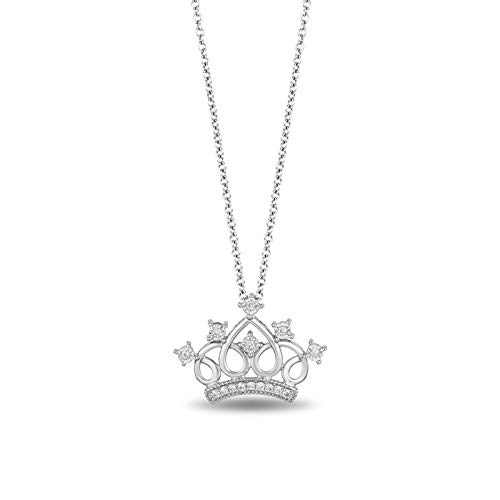 Jewelili Enchanted Disney Fine Jewelry Sterling Silver 1/10 CTTW Multi Princess Tiara Pendant