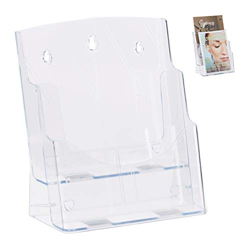 Relaxdays Prospekthalter A4 / DIN Lang, 2 Etagen, Acryl, Flyer Aufsteller Tisch & Wand, HBT: 27,5x24x15cm, transparent, 1 Stück