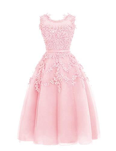 HUINI Ballkleider Tüll Kurz Abendkleid Hochzeitskleid A-Linie Brautjungfernkleid Spitzen Sommer Abiball Partykleid Rosa 46