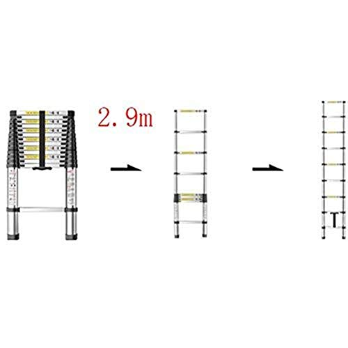 Brightz Escalera, Escalera telescópica Plegable, portátil Escalera de Aluminio, según EN131 estándar, Capacidad de Carga de 150kg / 330lb (Color: 2,9 m) (Color : 2.9m)