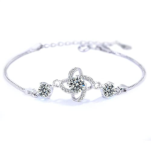 S925 Pulsera de plata con trébol de cuatro hojas Pulsera para mujer Diamantes con incrustaciones de plata esterlina Suerte Novias salvajes Día de San Valentín Regalo del día de San Valentín 紫钻手链