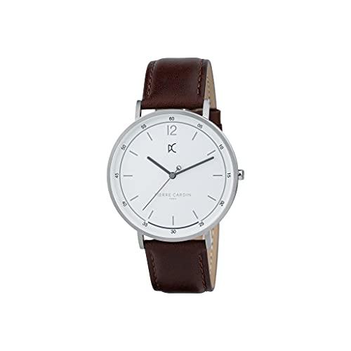 Pierre Cardin Bonne Nouvelle Light CBN.3001 - Reloj de pulsera de cuarzo para hombre de acero inoxidable con correa de piel