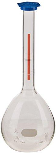 Corning Pyrex Borosilicate Glass Class A Flat Bottom Lifetime Red Volumetric Flask with Polyethylene Snap-Cap, 50ml Capacity (Case of 12)